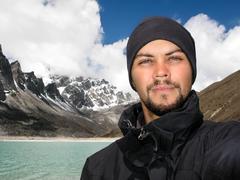 Self-portrait of Caucasian Hiker on Everest Base Camp Trek, Nepal Stock Photos