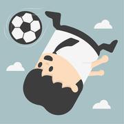 Business man kicking football.eps Stock Illustration