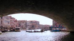 Track back under Rialto Bridge, Venice, Italy Stock Footage