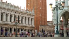 Visitors in San Marco Square, Venice, Italy Stock Footage
