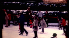 Crowd people Rockefeller Center Ice Skating 1970s Christmas Tree vintage Stock Footage