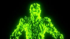Binary man with orb glowing data 0 1 green - stock footage