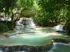 kuang si waterfall luang prabang - stock photo