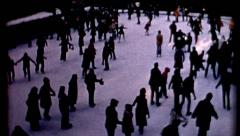 Crowd people Rockefeller Center Ice Skating 1970s Christmas Tree vintage Stock Footage