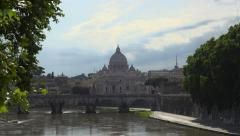 View of Vatican City along River Tiber Stock Footage