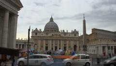 Rainy Vatican CIty - visitors with umbrellas - stock footage