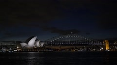 Sydney harbour at night Stock Footage