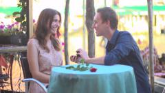 Man proposing marriage to his girlfriend - in Venice, Italy - stock footage