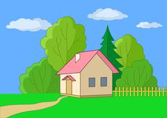 small house on a wood edge - stock illustration