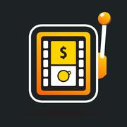 one armed bandit casino sign - stock illustration