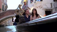 Embarking on a gondola, Venice, Italy Stock Footage