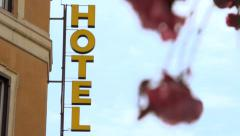 Hotel signage - Europe - stock footage