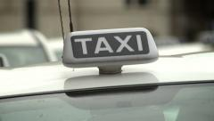 Taxi, Rome, Italy (white) Stock Footage