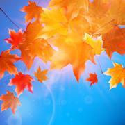 Delicate autumn sun with glare on blue sky. Stock Illustration