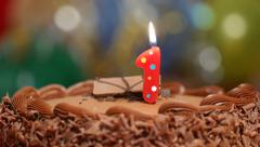 Birthday cake candle - no 1 Stock Footage