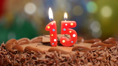 Birthday cake with candles Stock Footage