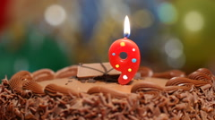 Candle for 9th birthday Stock Footage