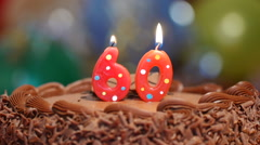 Birthday cake for 60th - with candles Stock Footage