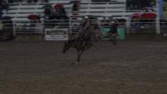 Rodeo saddle bronc horse ride 4K - stock footage