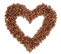 Coffee beans in a shape of hearth Stock Photos