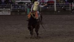Rodeo Saddle Bronc horse ride 4K 286 - stock footage