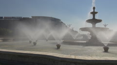 Water spray from huge fountain, historical monument downtown, stone decoration Stock Footage