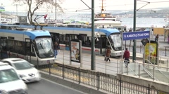 Public Transport, Tram in Kabatas, Istanbul Stock Footage