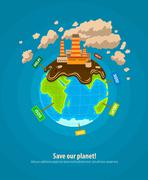 Ecology concept world planet industrial ecocatastrophe - stock illustration