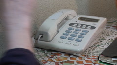 98 Years Old Woman, Picking Up The Phone, Dialing Numbers, Elderly, Close Up Stock Footage
