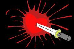 Pierced heart through wall with blood splash - stock illustration