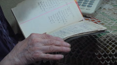 98 Years Old Woman,Searching Through Address Book, Communication, Hand Detail Stock Footage
