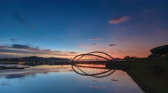 Time lapse of the sunrise view at Putrajaya Dam jetty Stock Footage