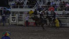 Rodeo saddle bronco horse ride night 4K 283 Stock Footage