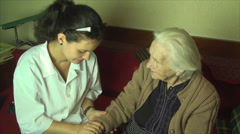 Medical Student Practicing On Her Great Great Grandmother, Blood Pressure Stock Footage