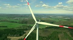 Windmill, Wind turbine: drone flight, beautiful landscape, closeup - stock footage