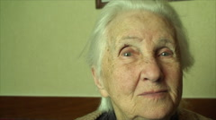 Portrait Of An 98 Years Old Woman, Happy And Healthy, Elderly, Wrinkles, Pan Stock Footage