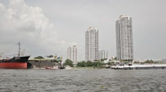 Freight ships in the old harbour of Bangkok Stock Footage