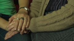 Hand Details Old And Young Woman, Generations, Elderly, Family, Love, Pan Stock Footage