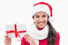 Beautiful festive woman holding gift Stock Photos