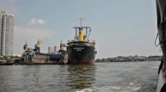 Freight ship in the old harbour of Bangkok Stock Footage