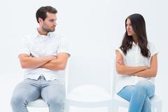 Stock Photo of Angry couple not talking after argument