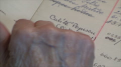 98 Years Old Woman Searching For Phone Numbers, In Address Book, Hand Detail Stock Footage