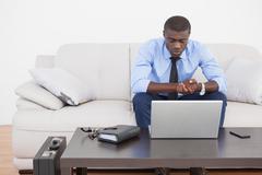Handsome businessman using laptop on sofa Stock Photos