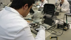 Microscope in technology laboratory Stock Footage