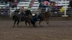 Rodeo steer wrestling from horse winner 4K 274 Stock Footage