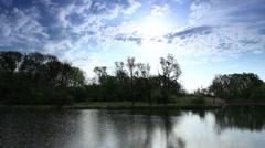 Movement of clouds over the river Black Stallion. Donetsk region, Ukraine Stock Footage