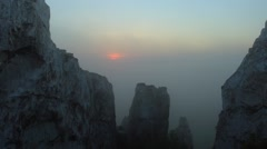 Timelapse sunrise in the mountains. Village Belokuzminovka, Donetsk region Stock Footage
