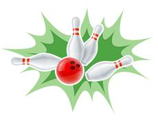 Skittles and ball for playing the bowling game - stock illustration