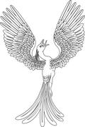Monochrome phoenix - stock illustration