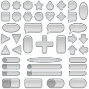 Silver glass buttons, set Stock Illustration